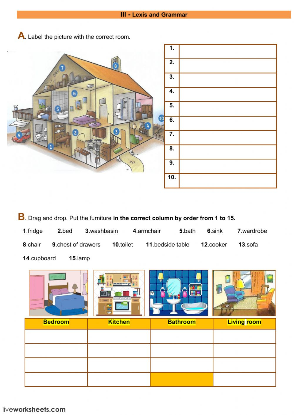 hight resolution of Lexis and grammar - the house worksheet