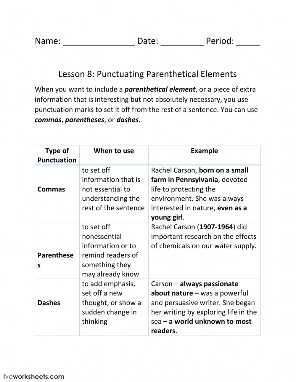 hight resolution of Lesson 8: Punctuating Parenthetical Elements worksheet