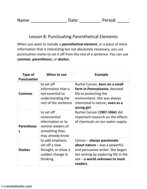 small resolution of Lesson 8: Punctuating Parenthetical Elements worksheet