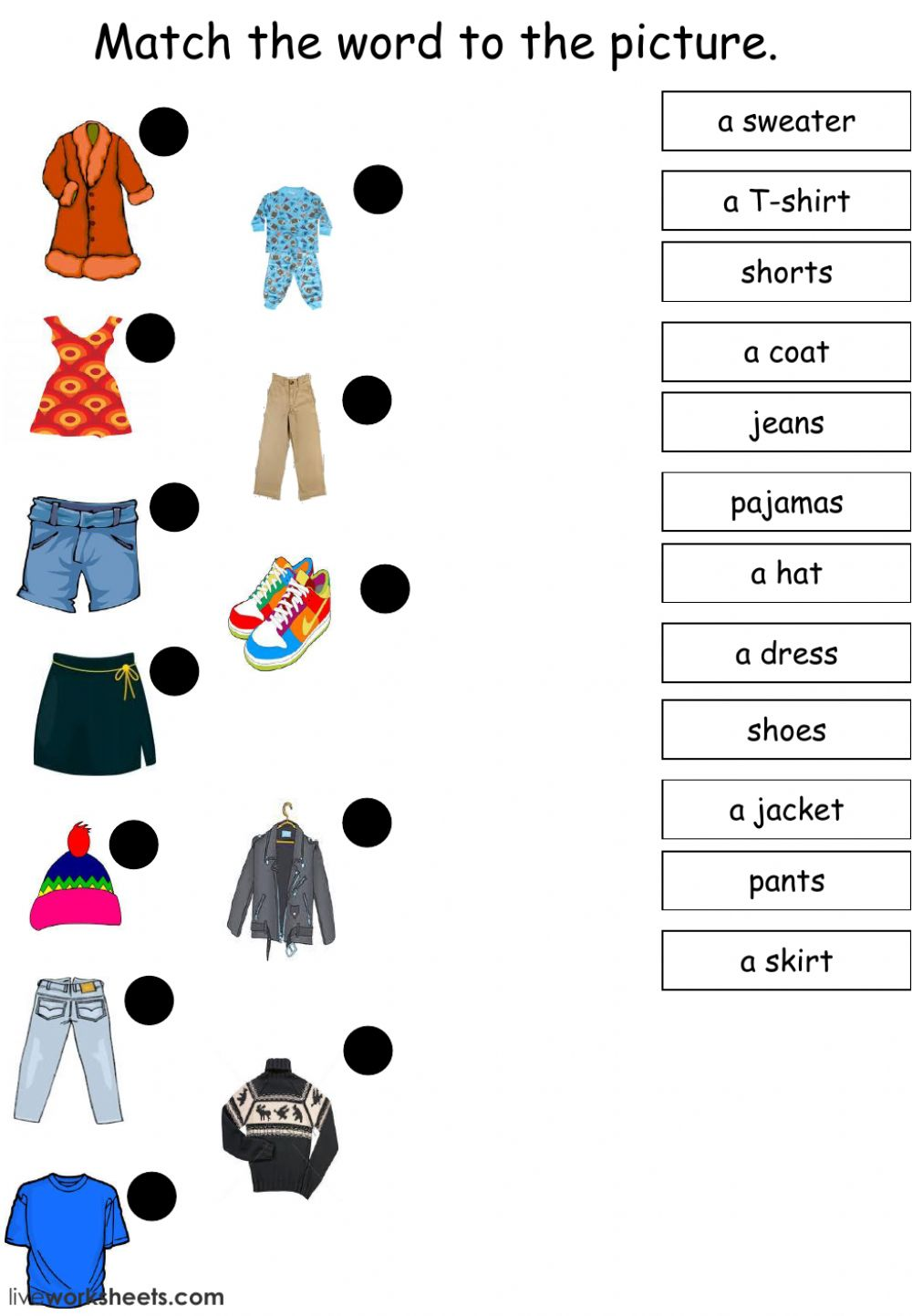 hight resolution of There is There are Clothes worksheet