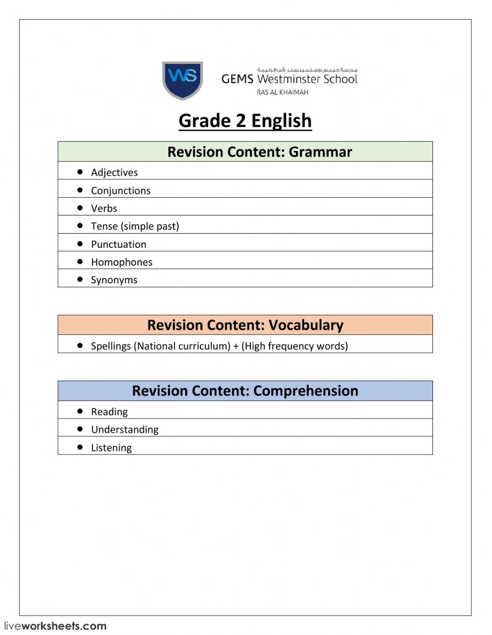 hight resolution of English Revision worksheet
