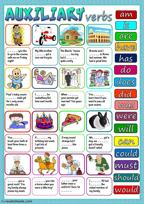 small resolution of Auxiliary verbs worksheet