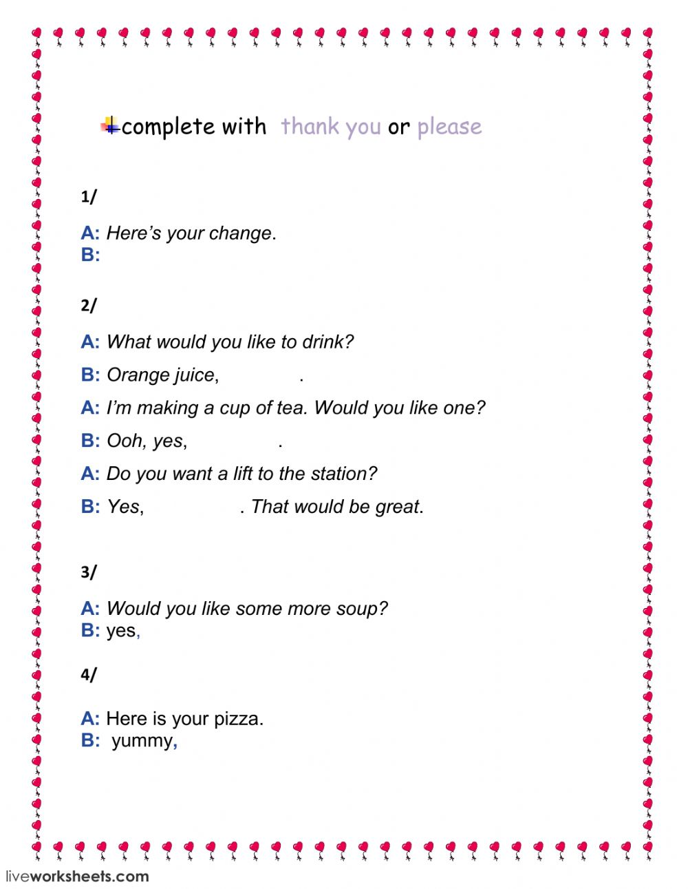 hight resolution of please- thank you worksheet