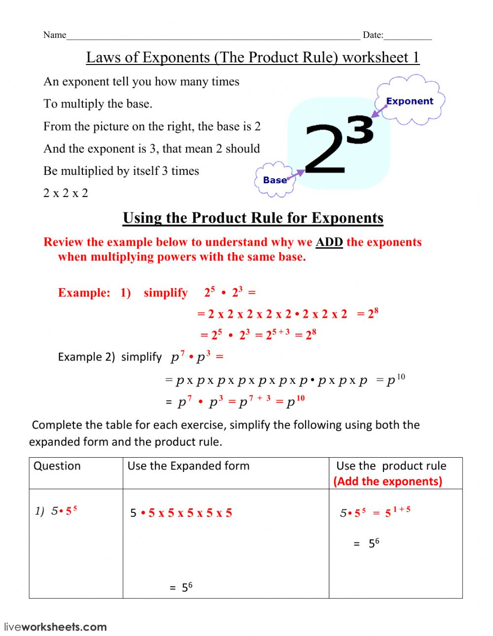 hight resolution of Laws of Exponents interactive worksheet