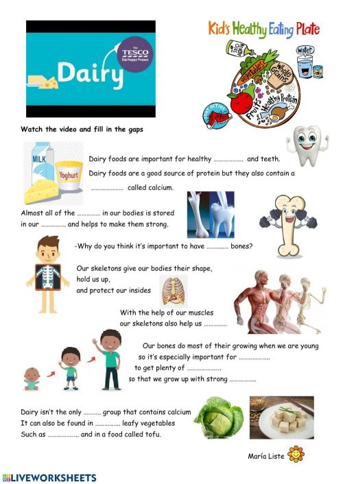 small resolution of Dairy food group worksheet