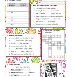 Possessive Adjectives worksheet for Grade 4 [ 1413 x 1000 Pixel ]