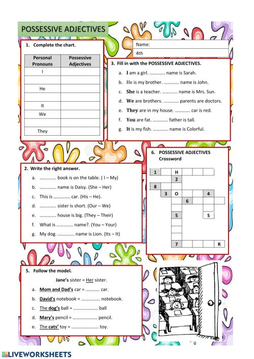 small resolution of Possessive Adjectives worksheet for Grade 4