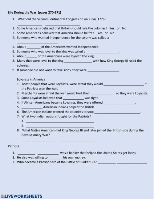 small resolution of Life During the Revolutionary War worksheet