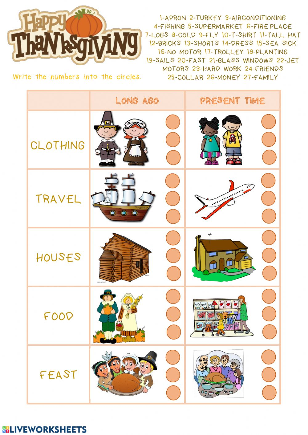 hight resolution of Thanksgiving worksheet