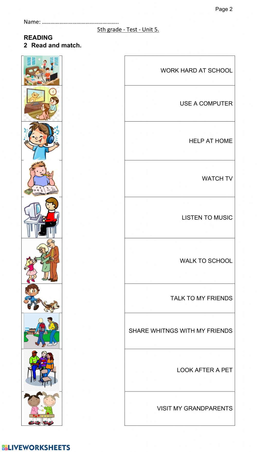 hight resolution of Test 5th grade - daily activities worksheet