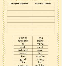 Descriptive adjective and adjective quantity worksheet [ 1291 x 1000 Pixel ]