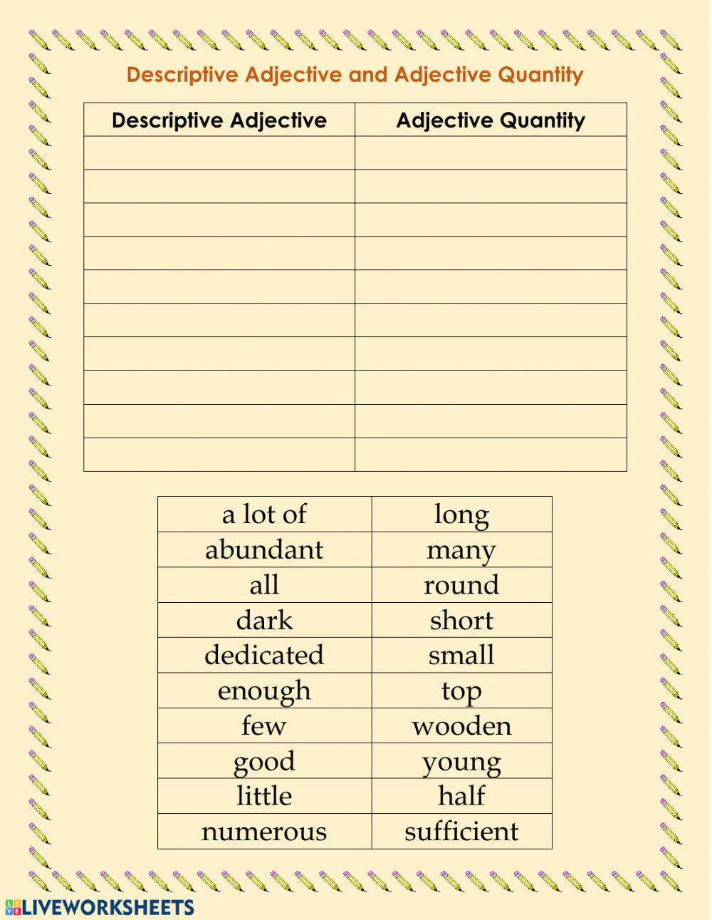 medium resolution of Descriptive adjective and adjective quantity worksheet