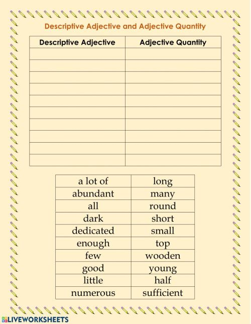small resolution of Descriptive adjective and adjective quantity worksheet