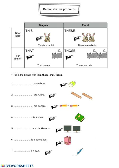 small resolution of Demonstrative adjectives interactive worksheet