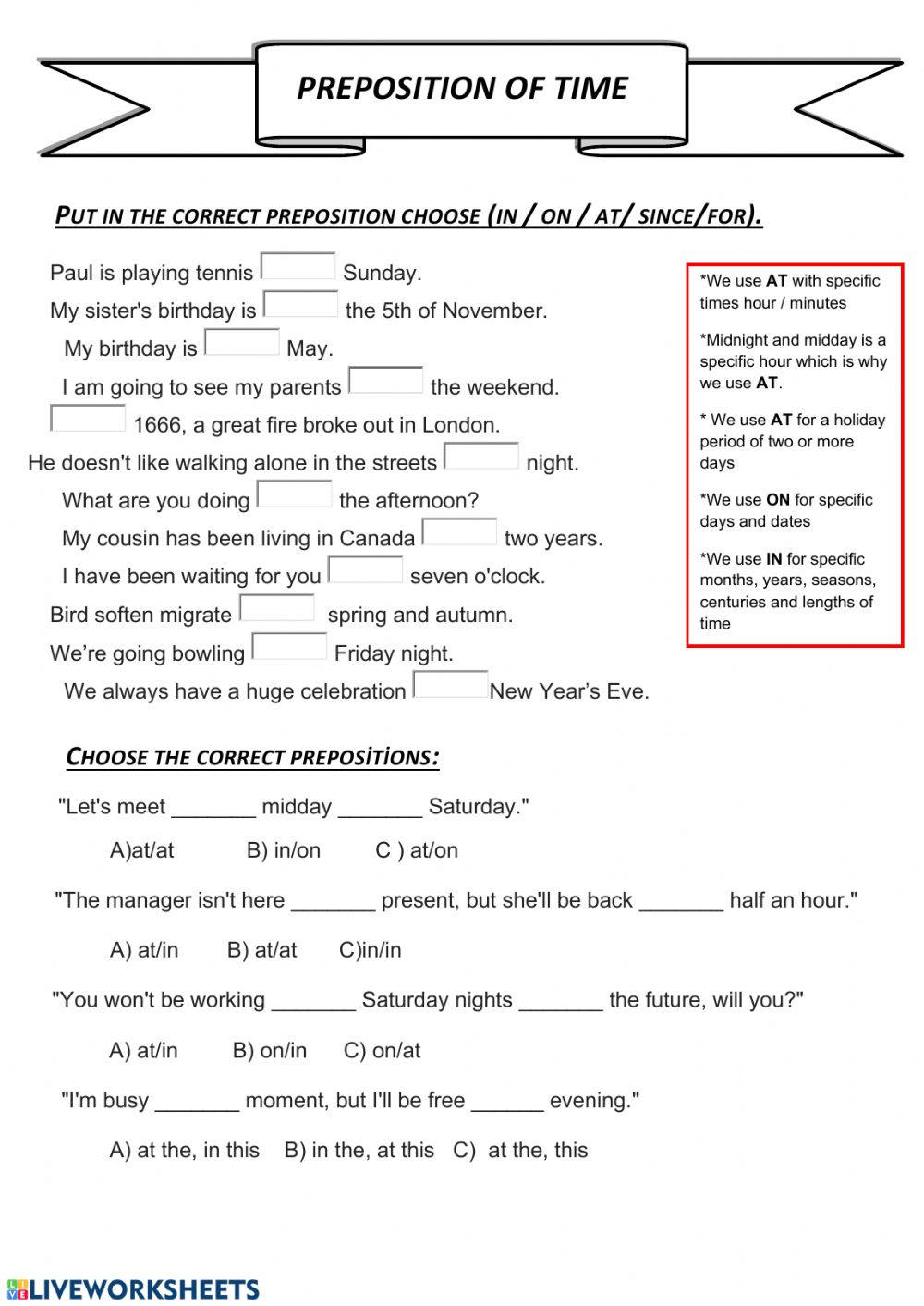 medium resolution of Preposition of time worksheet