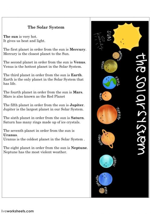 small resolution of The Solar System activity