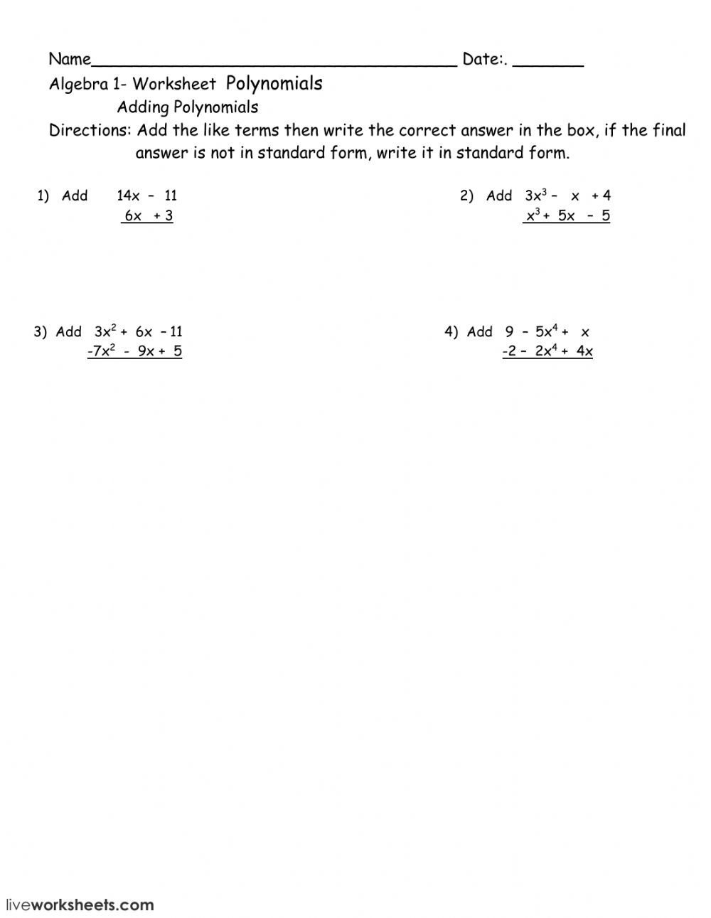 hight resolution of Polynomial worksheet worksheet