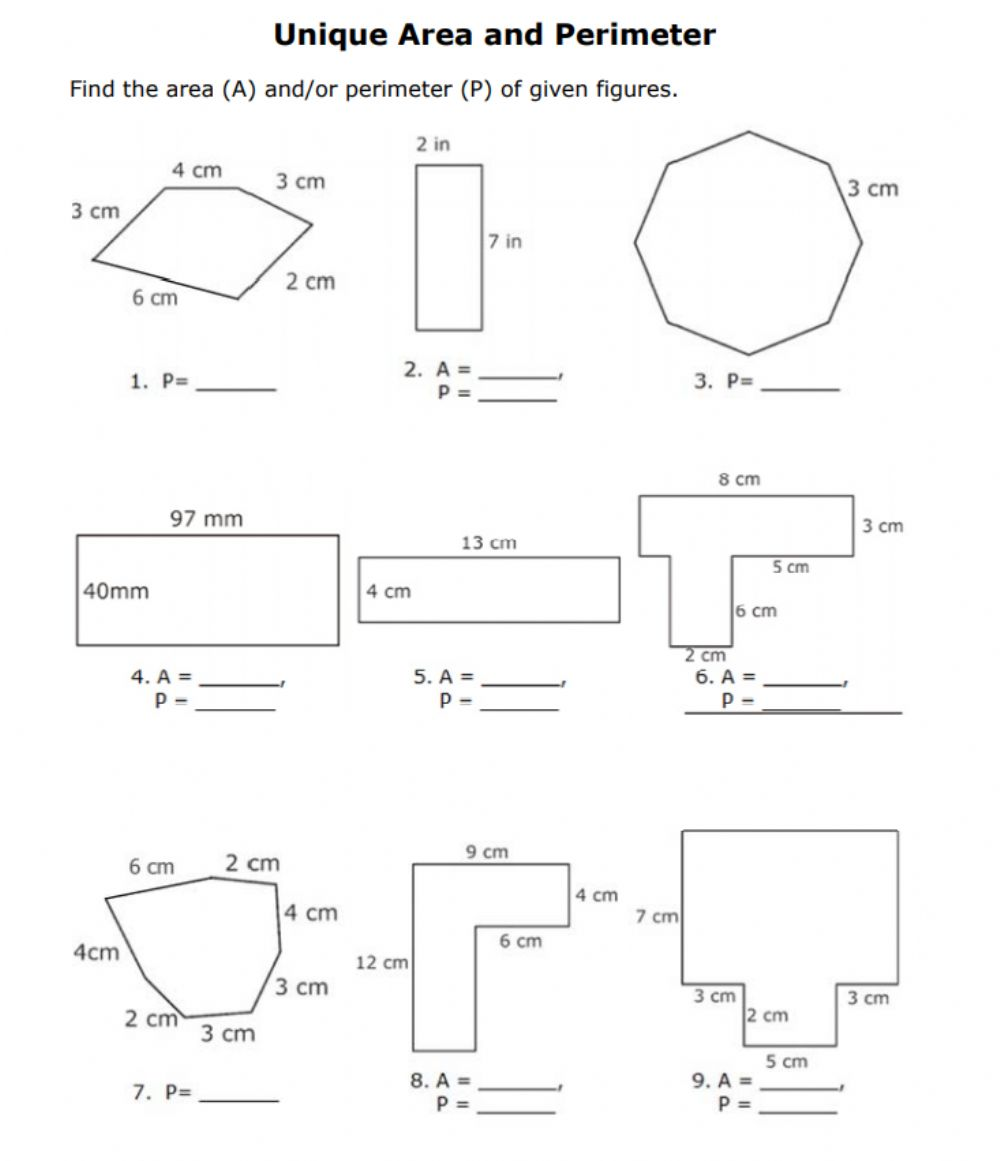 hight resolution of Areas of polygons worksheet
