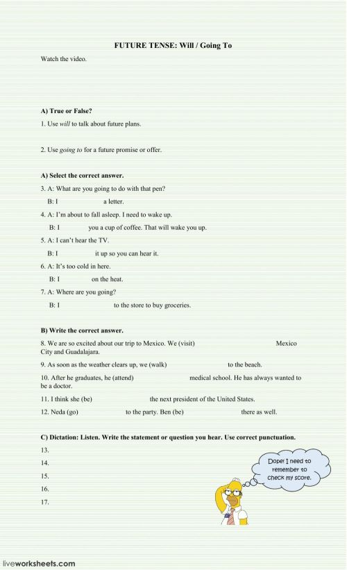 small resolution of Simple Future Tense worksheet