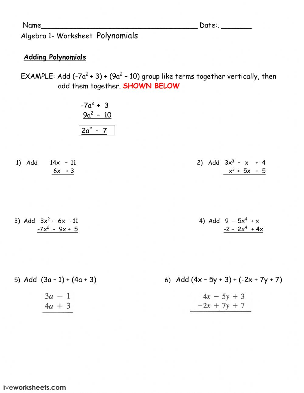 hight resolution of Adding polynomials worksheet