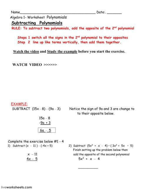 small resolution of Subtracting polynomials worksheet
