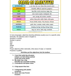 Adjective order worksheet [ 1291 x 1000 Pixel ]