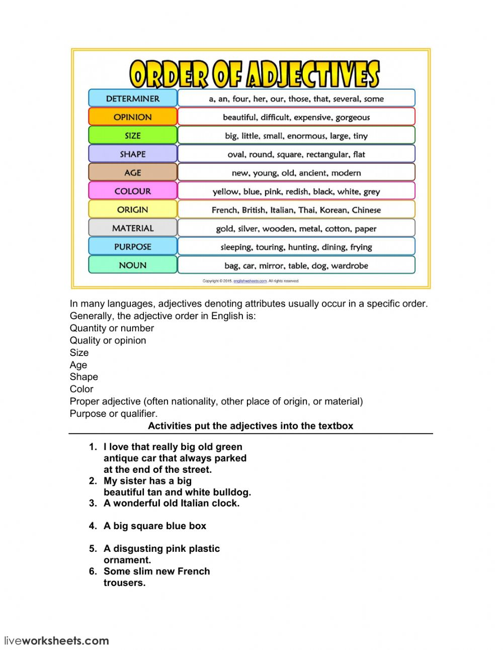 medium resolution of Adjective order worksheet