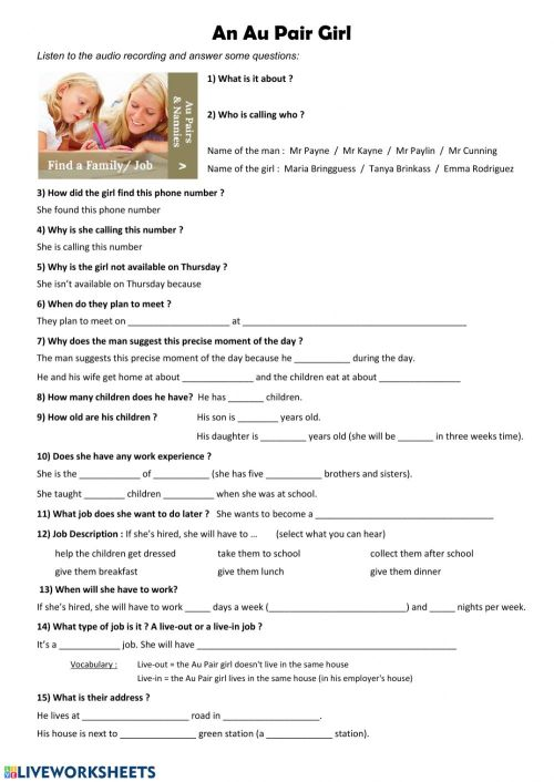 small resolution of Au Pair Job worksheet