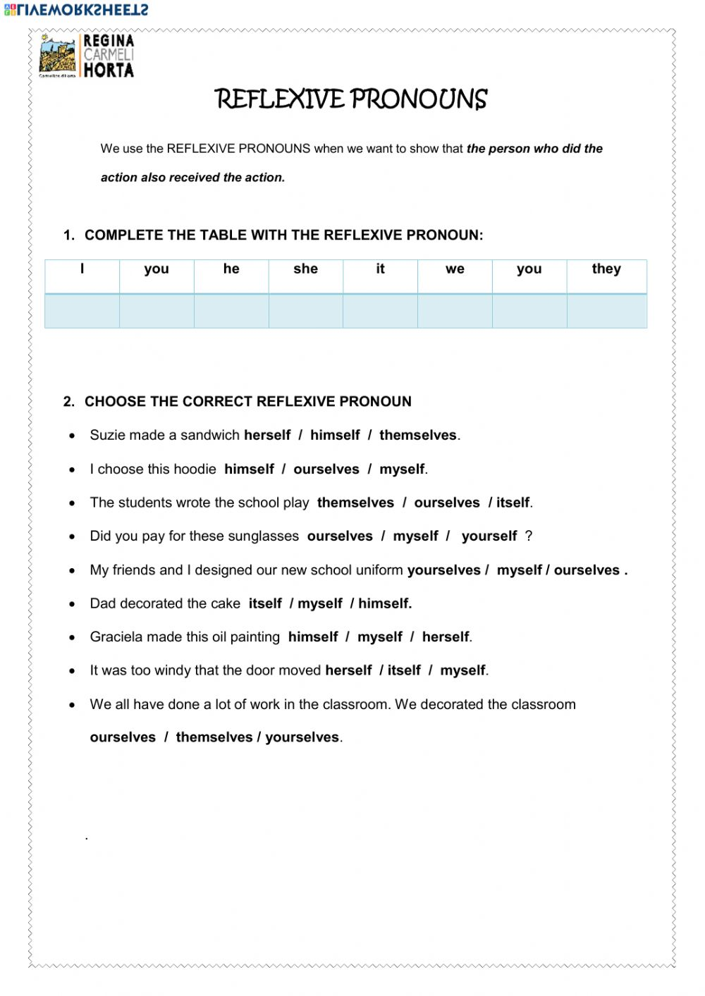 hight resolution of Reflexive Pronouns interactive worksheets
