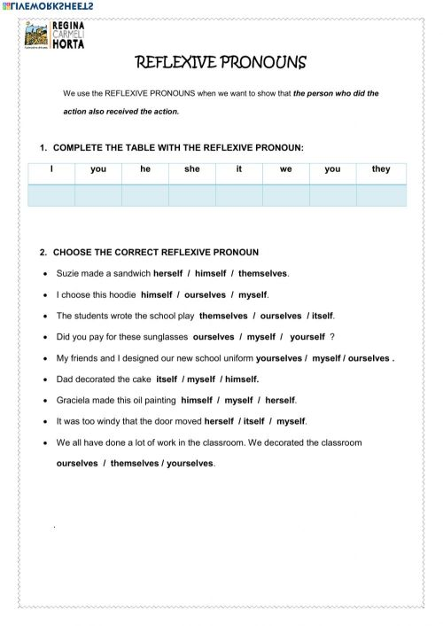 small resolution of Reflexive Pronouns interactive worksheets