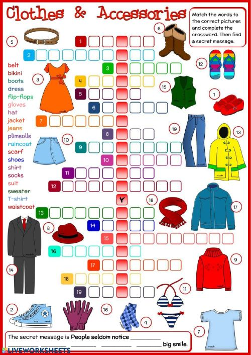 small resolution of Clothes and accessories interactive worksheet