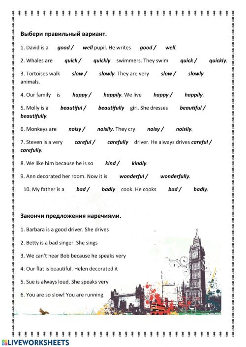 small resolution of Form 5 Unit 8 adjective-adverb worksheet