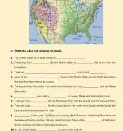 USA physical features - geographical features worksheet [ 1525 x 1000 Pixel ]