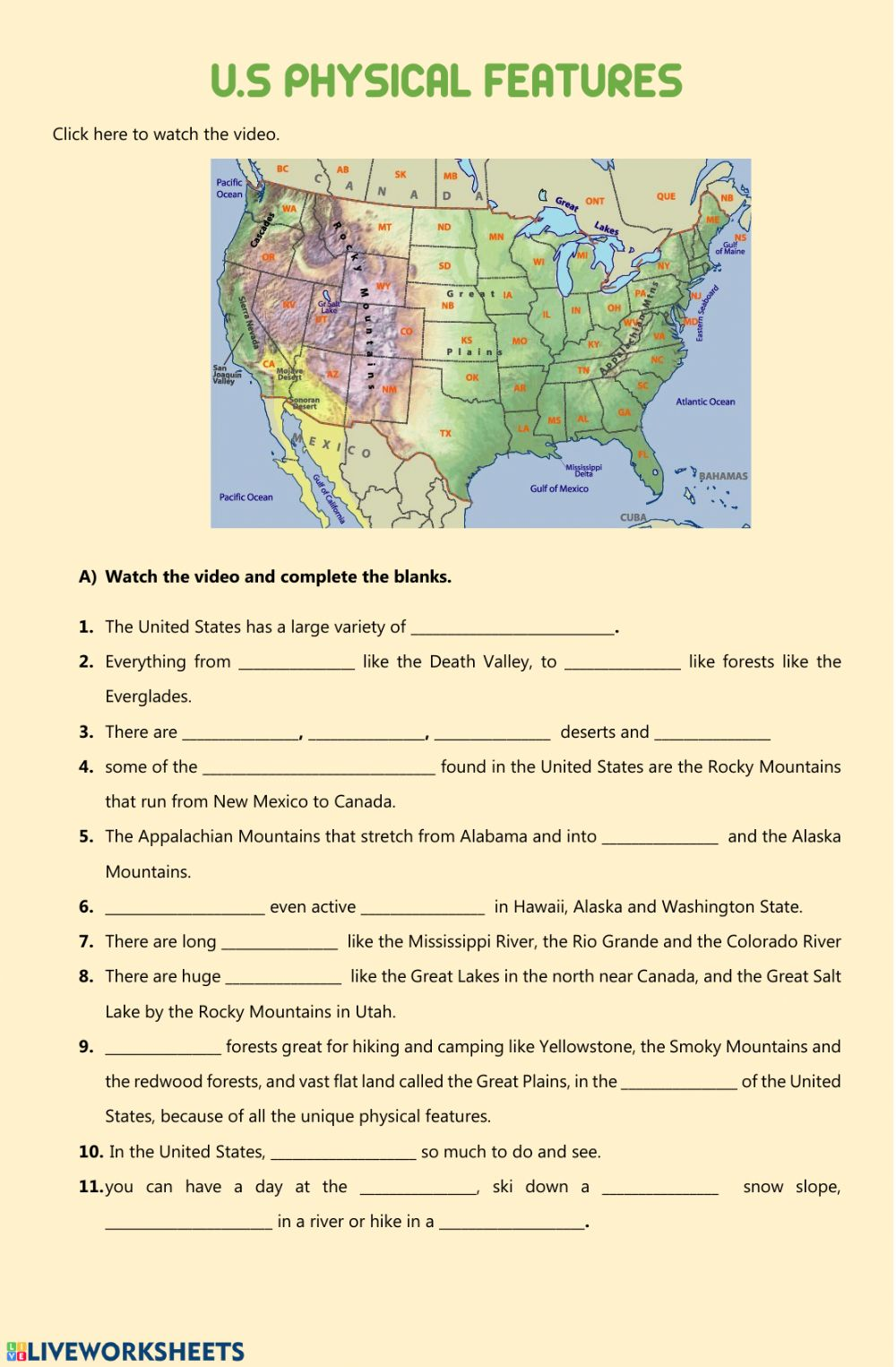 hight resolution of USA physical features - geographical features worksheet