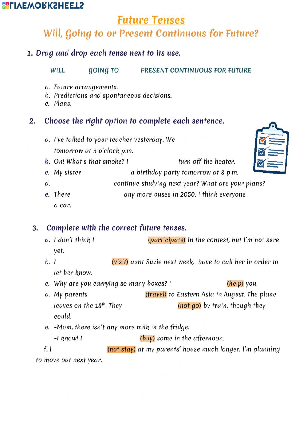 hight resolution of Future tenses exercise