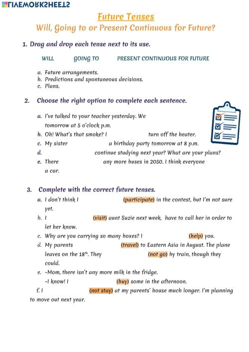 small resolution of Future tenses exercise