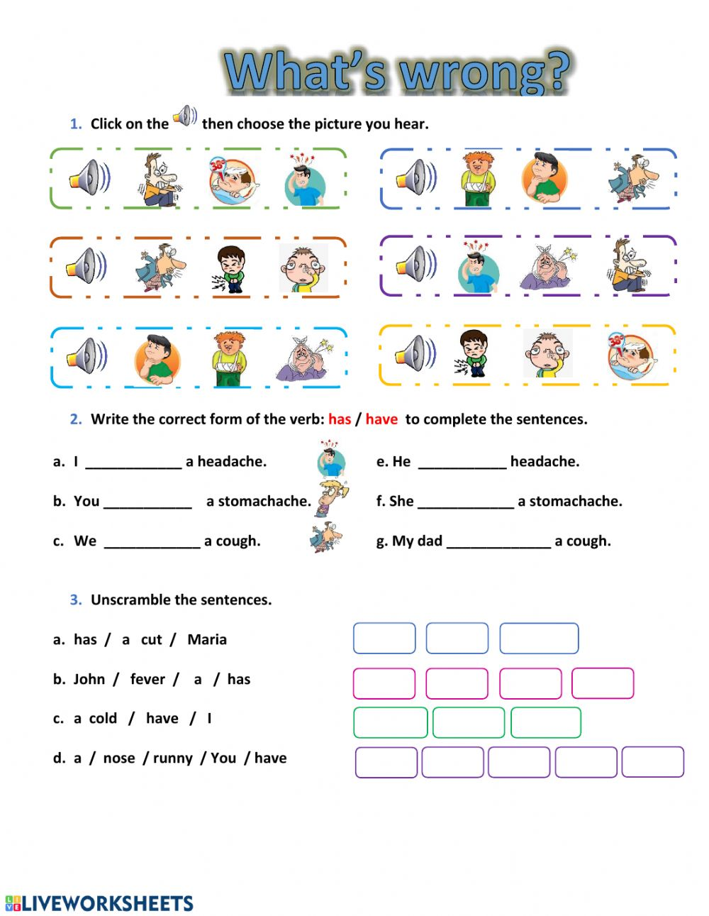 hight resolution of Health problems worksheet