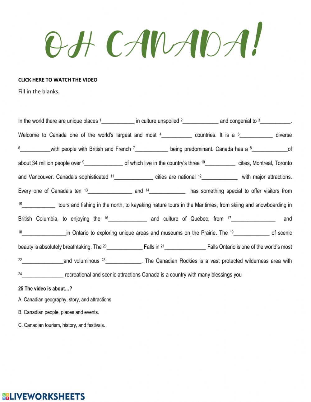 hight resolution of Canada features worksheet