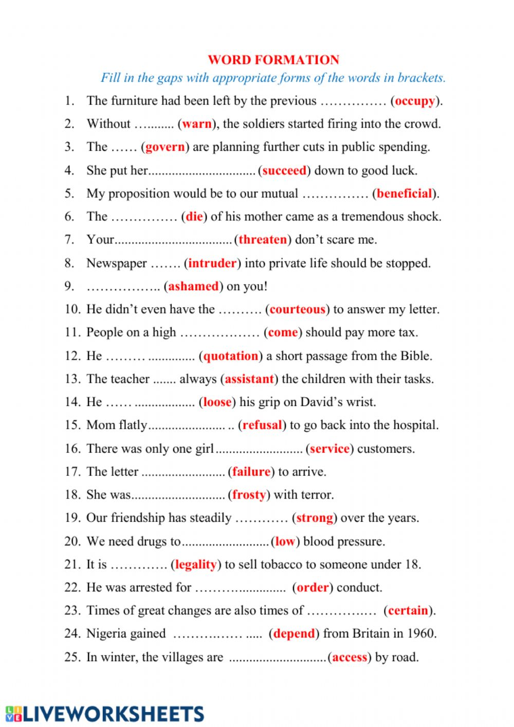 hight resolution of Word Formation online worksheet for Intermediate