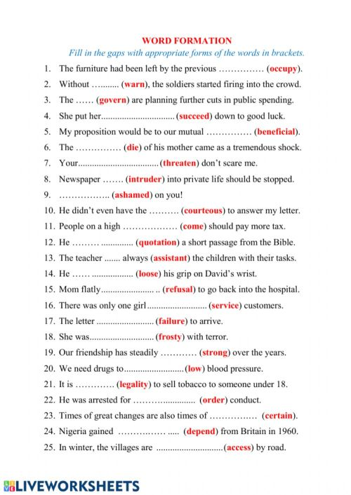 small resolution of Word Formation online worksheet for Intermediate