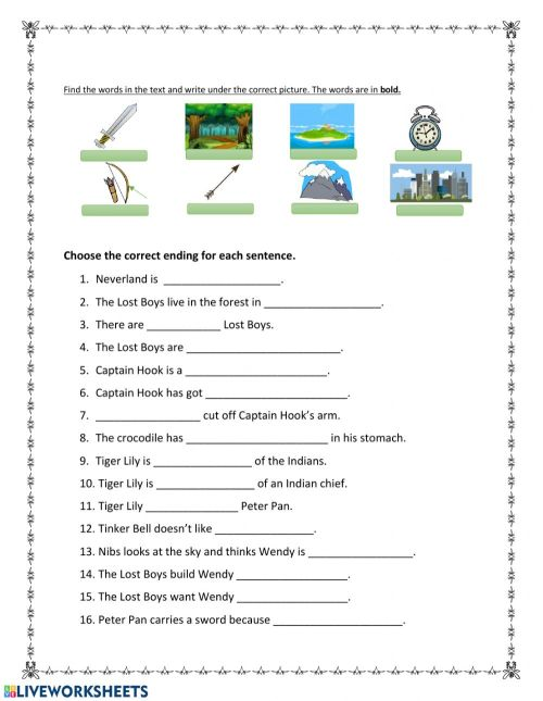 small resolution of Peter Pan Chapter 3 worksheet