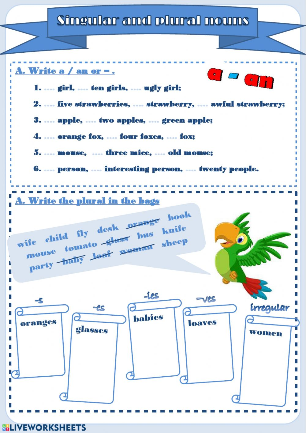 hight resolution of Singular and Plural nouns interactive worksheet