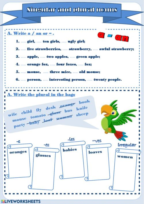 small resolution of Singular and Plural nouns interactive worksheet