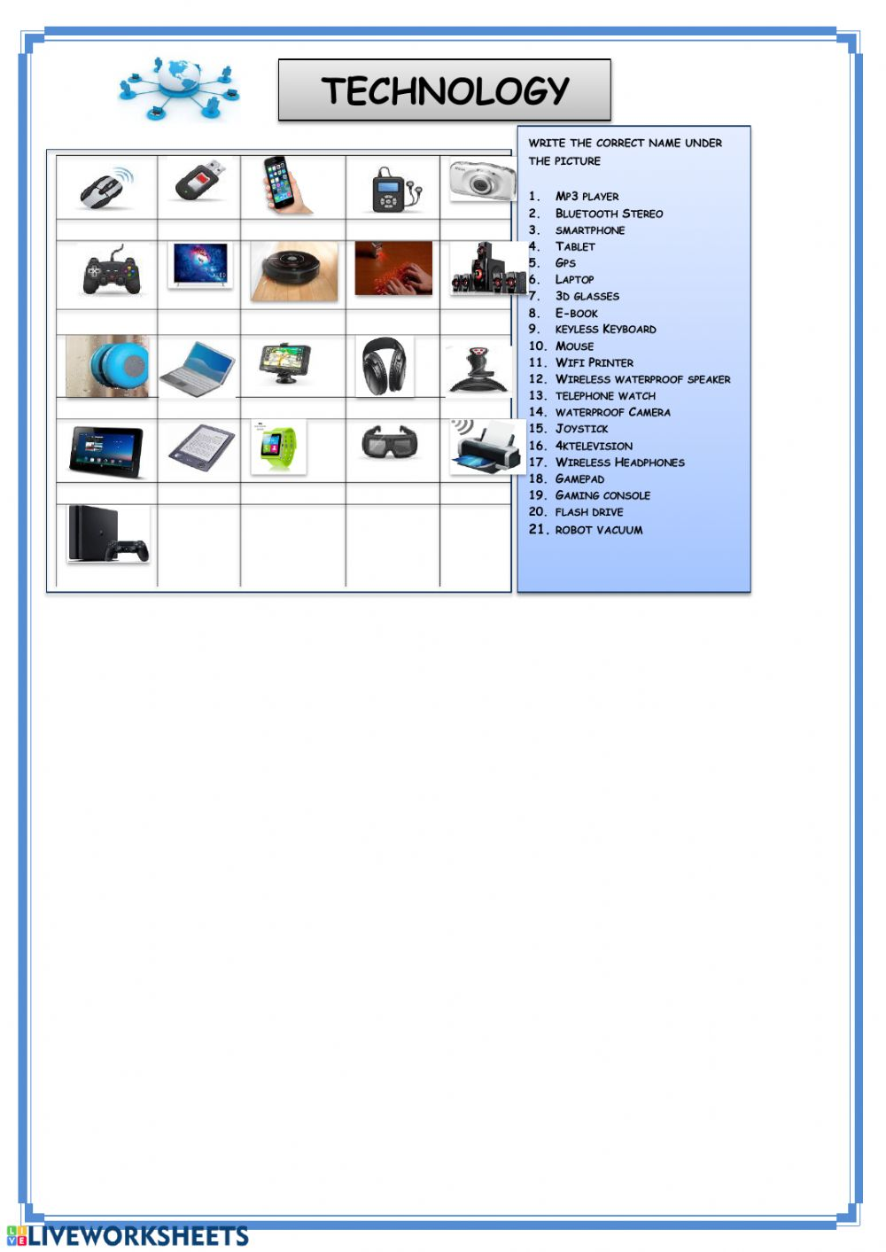 medium resolution of Technology interactive worksheet