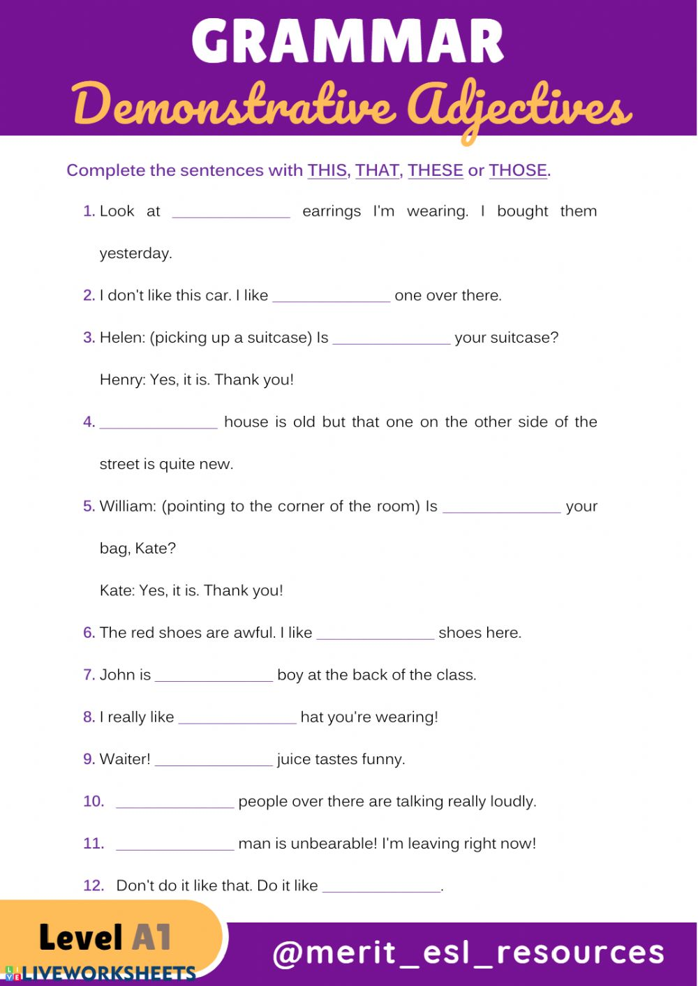 medium resolution of Demonstrative Adjectives worksheet