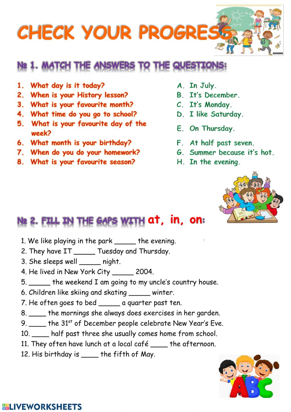 hight resolution of Prepositions online worksheet for 6