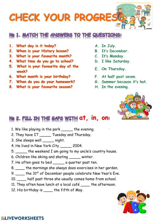 small resolution of Prepositions online worksheet for 6