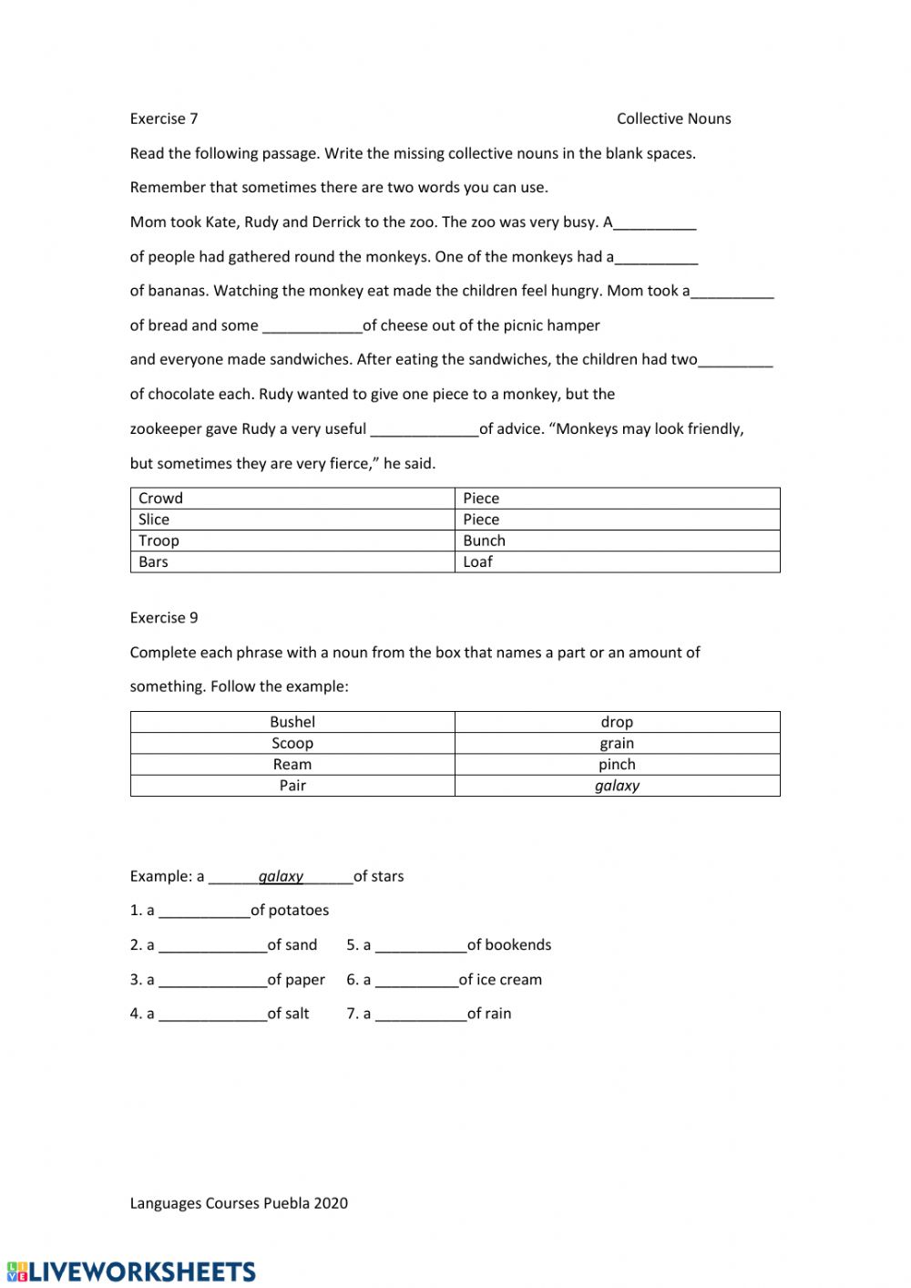 medium resolution of Collective Nouns worksheet