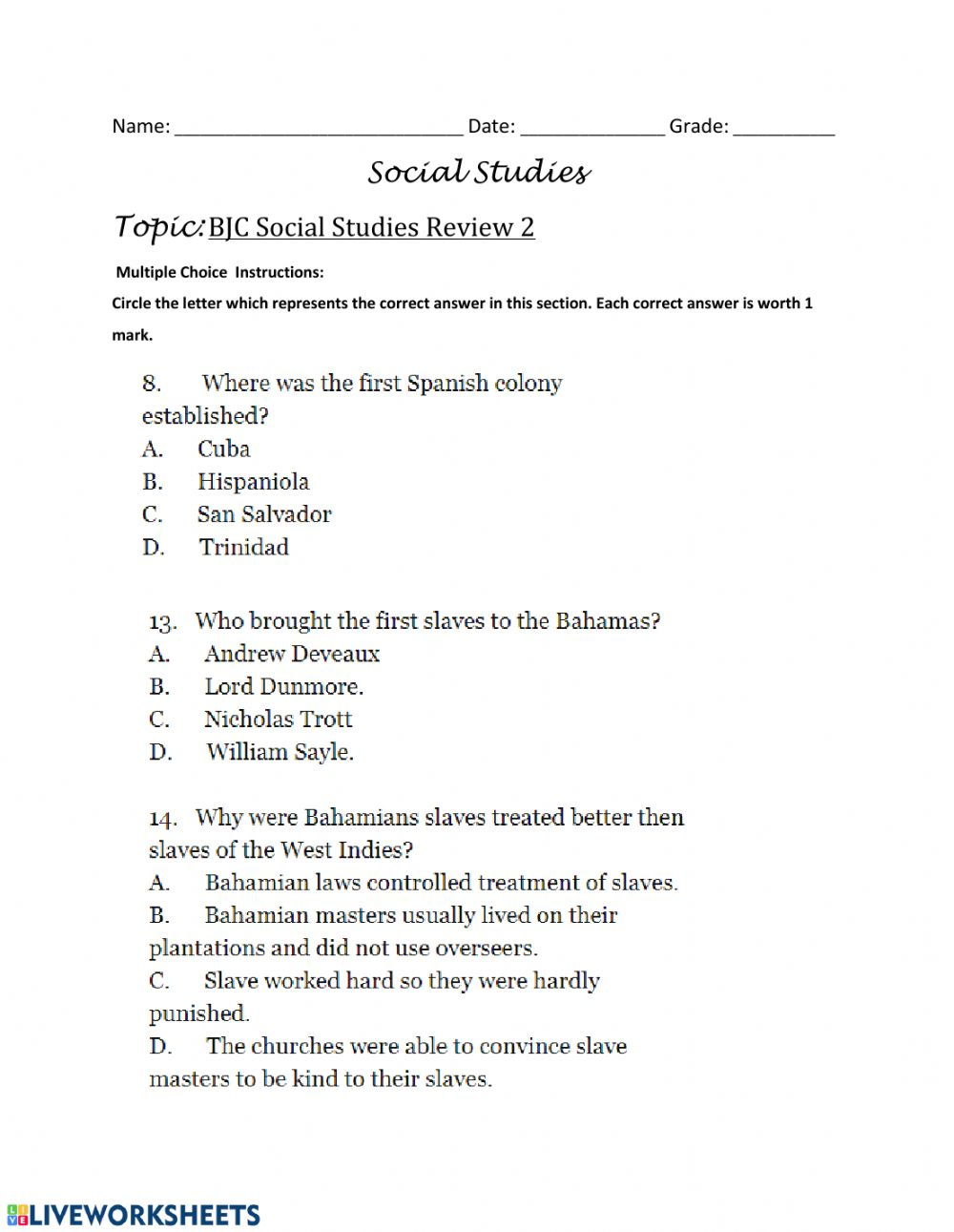 medium resolution of BJC Review- Multiple Choice Questions - 3 worksheet