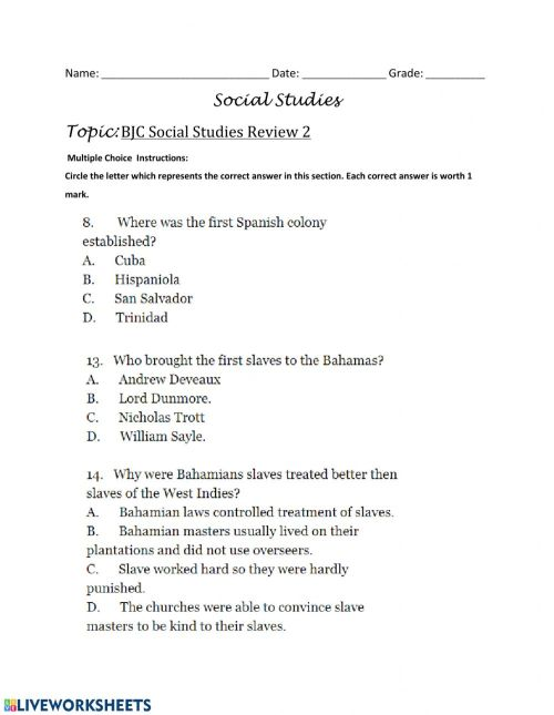small resolution of BJC Review- Multiple Choice Questions - 3 worksheet